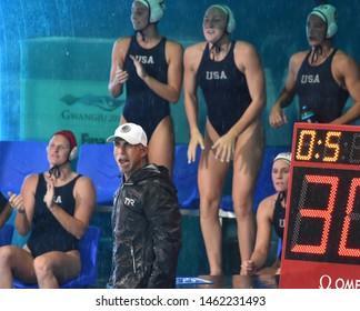 Gwangju, South Korea - July 26, 2019. KRIKORIAN Adam head coach of the USA team. Spain played against USA in the Final of the FINA Women Waterpolo World Championship.