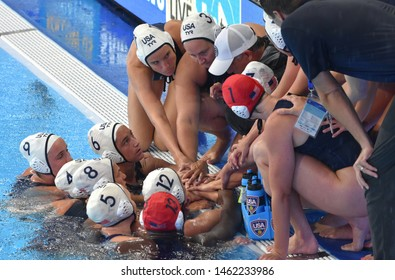 Gwangju, South Korea - July 26, 2019. KRIKORIAN Adam head coach of the USA team speaks to his team in the break. USA played against Spain in the Final of the Women Waterpolo World Championship.