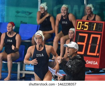 Gwangju, South Korea - July 26, 2019. STEFFENS Margaret (USA, 6) running into the pool. USA played against Spain in the Final of the Women Waterpolo World Championship.