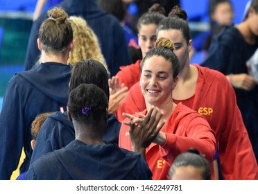Gwangju, South Korea - July 26, 2019. GARCIA GODOY Maica, spanish waterpolo player greets USA team players. Spain played against USA in the Final of the Women Waterpolo World Championship.