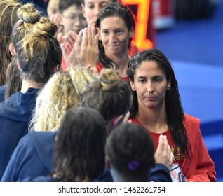 Gwangju, South Korea - July 26, 2019. PENA CARRASCO Maria, spanish player greets USA team players. Spain played against USA in the Final of the Women Waterpolo World Championship.