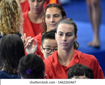Gwangju, South Korea - July 26, 2019. ORTIZ MUNOZ Beatriz, spanish player greets USA team players. Spain played against USA in the Final of the Women Waterpolo World Championship.