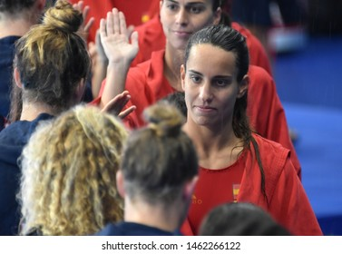 Gwangju, South Korea - July 26, 2019. ESPAR I LLAQUET Anna, spanish player greets USA team players. Spain played against USA in the Final of the Women Waterpolo World Championship.