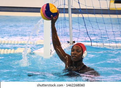 Gwangju, South Korea - July 26, 2019. JOHNSON Ashleigh (USA, 13) goalkeeper holds the waterpolo ball. USA played against Spain in the Final of the Women Waterpolo World Championship.