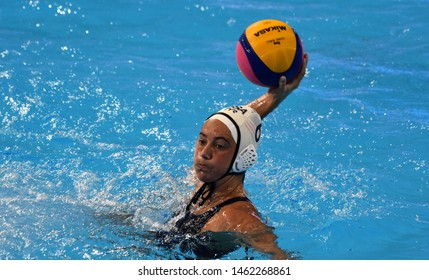Gwangju, South Korea - July 26, 2019. STEFFENS Margaret (USA, 6) shoots with ball. USA played against Spain in the Final of the Women Waterpolo World Championship.