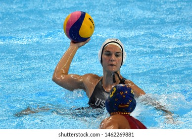 Gwangju, South Korea - July 26, 2019. NEUSHUL Kiley (USA, 8) shoots with the waterpolo ball. USA played against Spain in the Final of the Women Waterpolo World Championship.