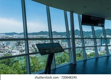 GWANGJU, SOUTH KOREA - JUNE 3, 2017: The observation area of Gwangju observation tower at Sajik Park, Gwangju city. Tower