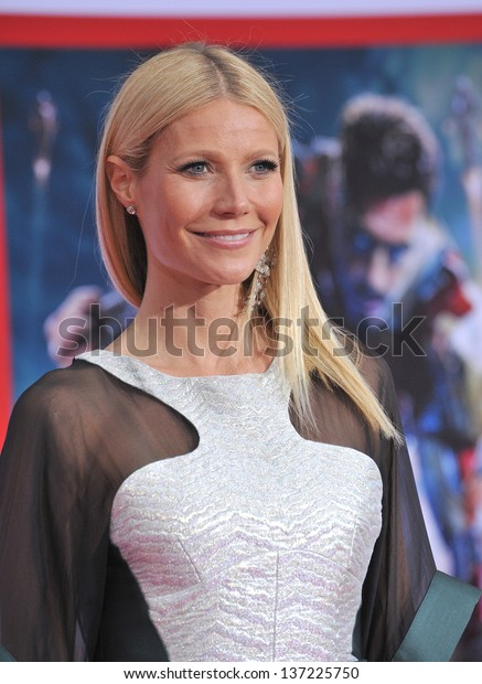 """Gwyneth Paltrow at the Los Angeles premiere of her movie """"Iron Man 3"""" at the El Capitan Theatre, Hollywood. April 24, 2013  Los Angeles, CA"""