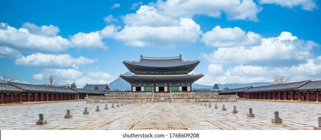 Gyeongbok palace in Seoul City, Gyeongbokgung palace landmark of Seoul, South Korea. - Shutterstock ID 1768609208