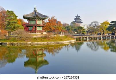 Gyeongbokgung Palace in Autumn, Seoul, South Korea