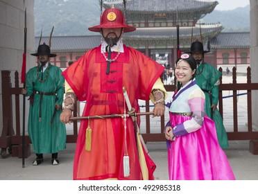 Gyeongbokgung Palace, Korea - Sep 26, 2016: Beautiful Korean girl in Hanbok at Gyeongbokgung, the traditional Korean dress. Gyeongbok Palace, was the main royal palace of the Joseon dynasty.