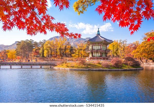 Gyeongbokgung palace with Maple leaves, Seoul, South Korea.