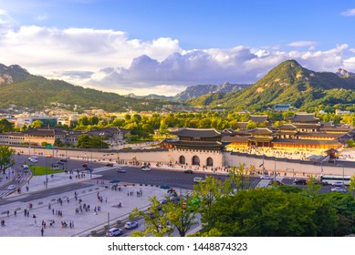Gyeongbokgung Palace at Seoul in South Korea, with the name of the palace 'Gyeongbokgung' on a sign