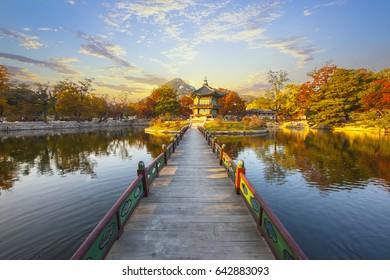 Gyeongbokgung Palace and Soft focus of Maple tree in autumn,Korea.