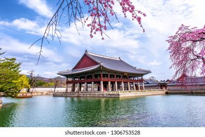 gyeongbokgung palace in spring at seoul south Korea