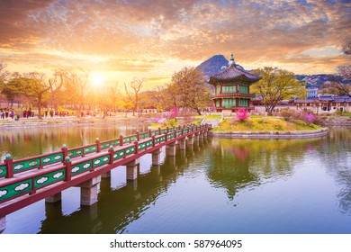 Gyeongbokgung palace in sunset in spring, South Korea.