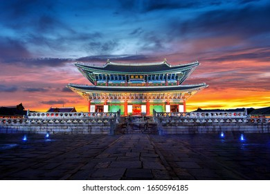 Gyeongbokgung palace at twilight in Seoul, South Korea.