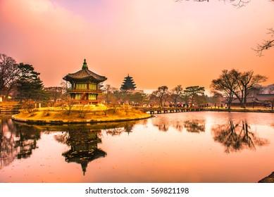gyeongbokgung palace in winter seoul city korea