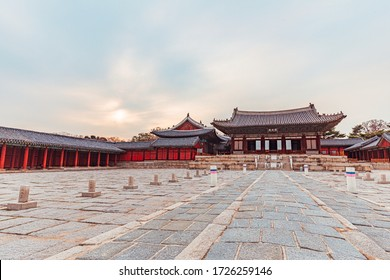 Gyeongbokgung, the royal palace of the Joseon dynasty, on a winter afternoon. Seoul, South Korea.