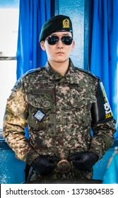 Gyeonggi Province / South Korea - January 2018: South Korean soldier standing guard on the DMZ in the joint security area.