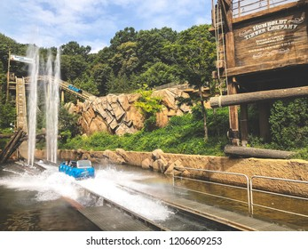 Gyeonggi-do, South Korea - September 18, 2018 : Rafting adventure at Everland theme park in korea