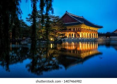gyeonghoeru pavilion lit up at night. a famous pavilion in gyeongbokgung palace in seoul, south korea