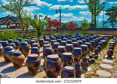 Gyeongju, South Korea - May 1 2020: A lot filled with Korean Onggis, also known as kimchi pots, from the Korean Fermented Food Experience Center in Gyeongju.