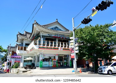GYEONGJU, SOUTH KOREA - SEPTEMBER 05, 2018: 7-Eleven shop in Gyeongju, South Korea. 7-Eleven is an international chain of convenience stores.
