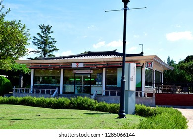 GYEONGJU, SOUTH KOREA - SEPTEMBER 05, 2018: 7-Eleven shop at Gyeongju National Museum in Gyeongju, South Korea. 7-Eleven is an international chain of convenience stores.