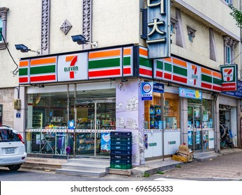 GYEONJYU, SOUTH KOREA - JULY 26, 2014: 7-Eleven store in Gyeonjyu, South Korea. 7-Eleven is an international chain of convenience stores.