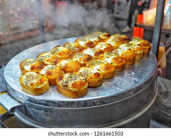 Gyeran-bbang or Egg bread it is famous street food in South Korea,made from flour, sugar and whole egg inside the pancake dough at at Myeong-dong street food, Seoul, South Korea