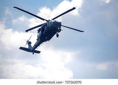 Gyeryong, South Korea - October 9, 2017: Military helicopter demonstrating air assault operation