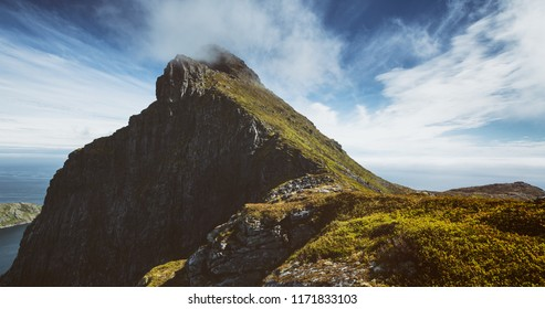 Gylttinden mountaintop on the Lofoten Islands, Norway on a sunny summer day.