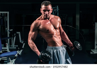 Gym. Bodybuilding. Training and workouts. Dumbbells exercises. Male torso with six packs. Sportsman with naked body
