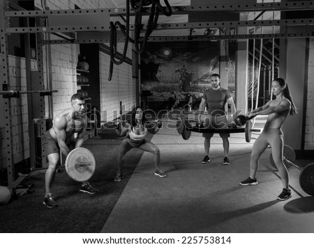 Gym Group Weight Lifting Workout Men Stock Photo (Edit Now