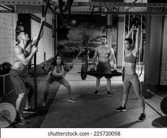 gym group weightlifting workout men and girls exercise