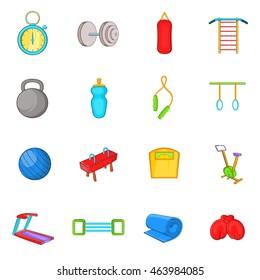 Gym icons in cartoon style. Yoga set isolated  illustration