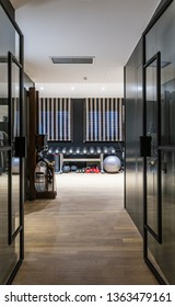 Gym in luxury penthouse apartment