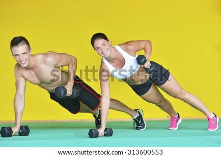 Gym Man Woman Pushup Strength Pushup Stock Photo (Edit Now