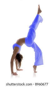 Gymnast girl in flexible back pose