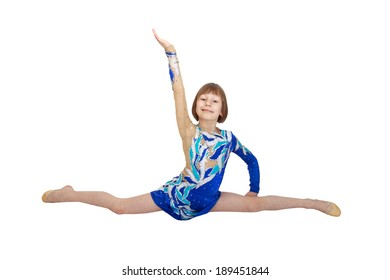 Gymnast girl sitting in splits isolated on white background