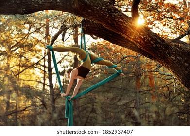 Gymnast making upside down exercise on aerial silks