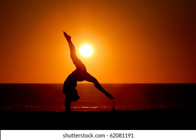 gymnast in sunset
