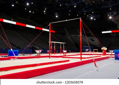 Gymnastic equipment in a gymnastic arena