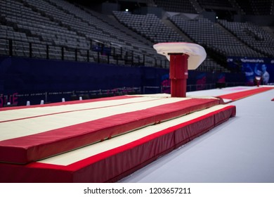 A gymnastic vaulting horse in a gymnastic arena