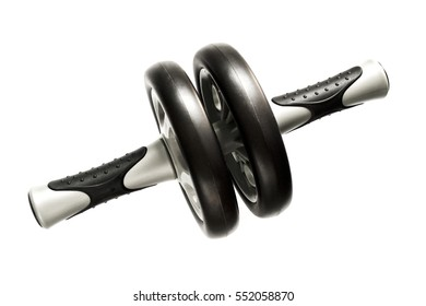 Gymnastic wheel for abdominal exercise on a white background