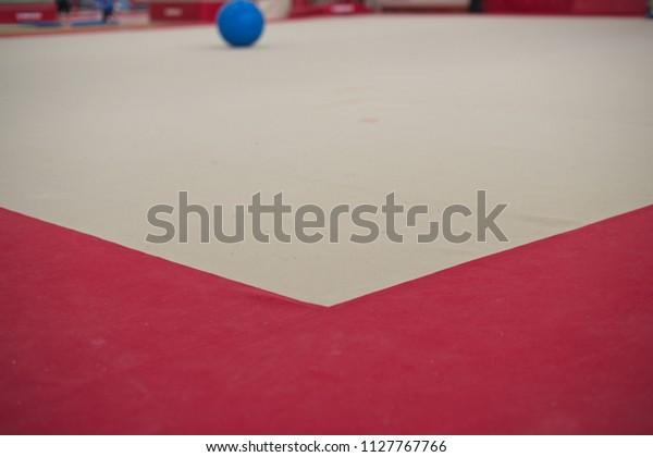Gymnastics exercise floor with carpet