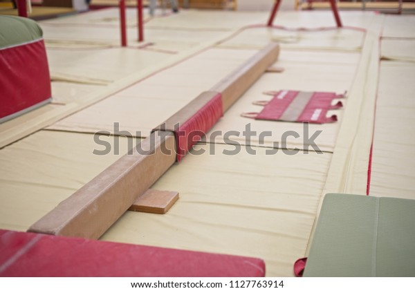 Gymnastics Hall. Gymnastic equipment.Learning Beam