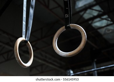 Gymnastics rings hanging from celling