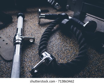 gyms equipment, rope and handle on the floor